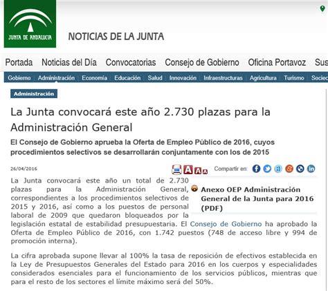 La Junta Andaluza convocará este año 2.730 plazas para la ...