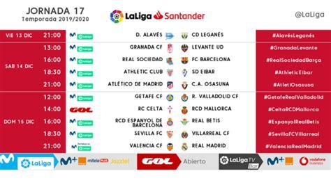 La Liga Santander: Horarios de las jornadas 17, 18 y 19 ...