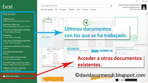 La Pantalla de Inicio de Excel 2013.