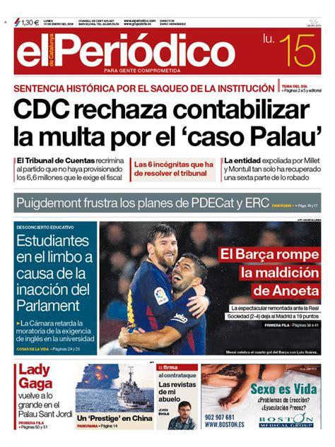La portada de EL PERIÓDICO del 15 de enero del 2018