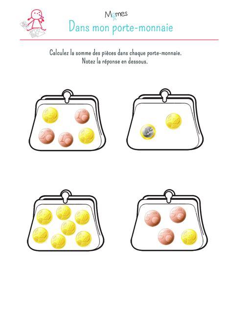 La somme des pièces en euro: exercice   Momes.net