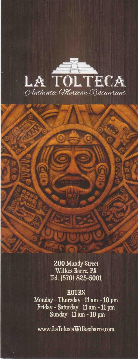 La Tolteca Menu | Authentic Mexican Food | Wilkes Barre ...