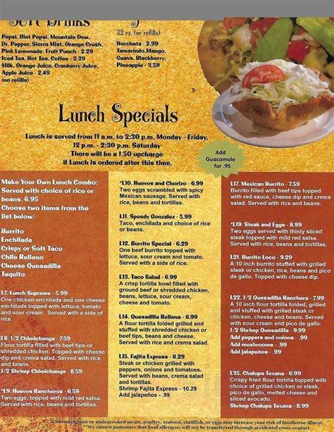 La Tolteca menu in Williamsburg, Virginia, USA