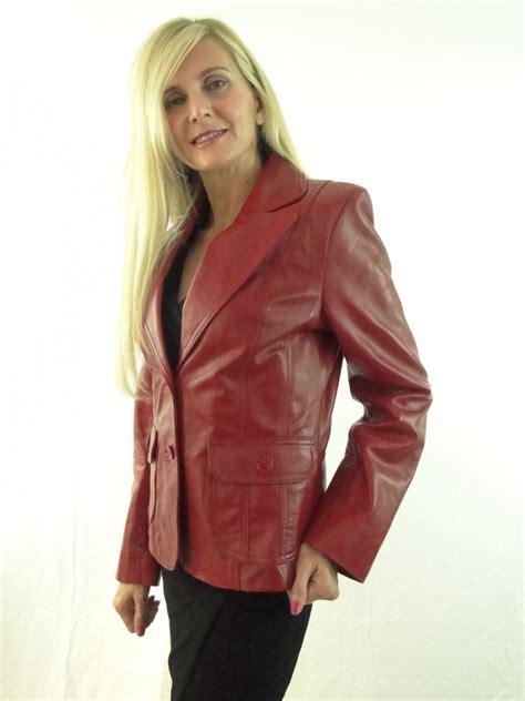 Ladies Women s Red Leather Blazer   Radford Leathers