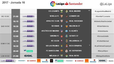 Laliga Santander: Horarios de la jornada 16 de la Liga ...