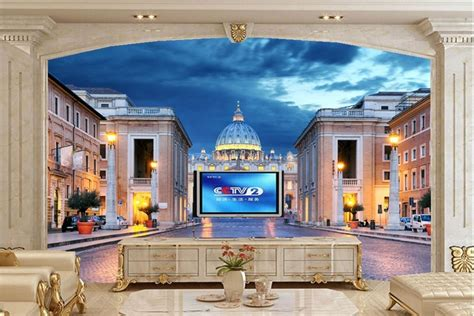 Large 3d murals,Rome Italy Temples Houses Night Street ...