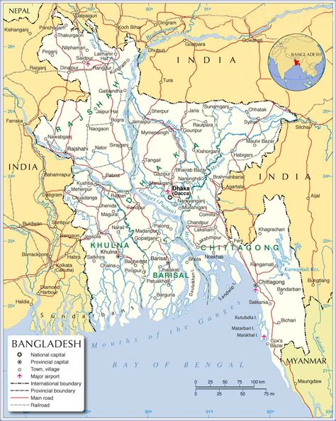 Large detailed map of Bangladesh with cities | einfon