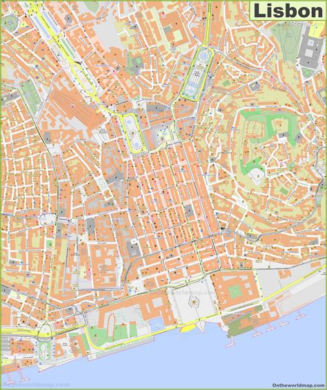Large detailed map of Lisbon