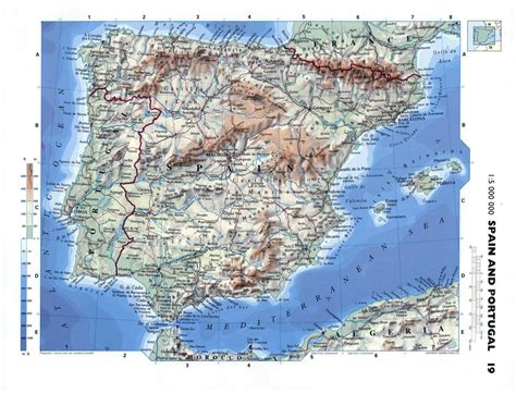 Large detailed physical map of Spain and Portugal with ...