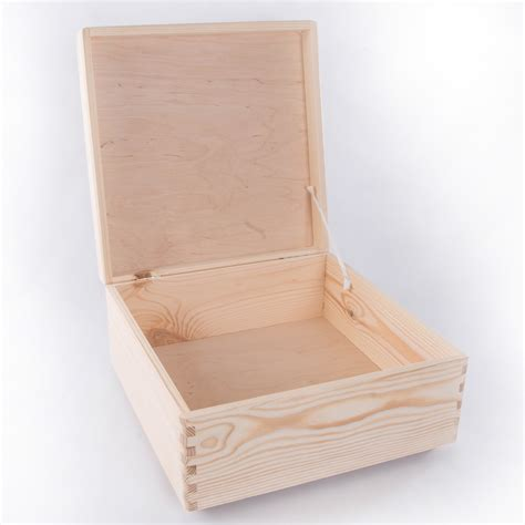 Large Square Wooden Storage Box With Lid / Pinewood Memory ...