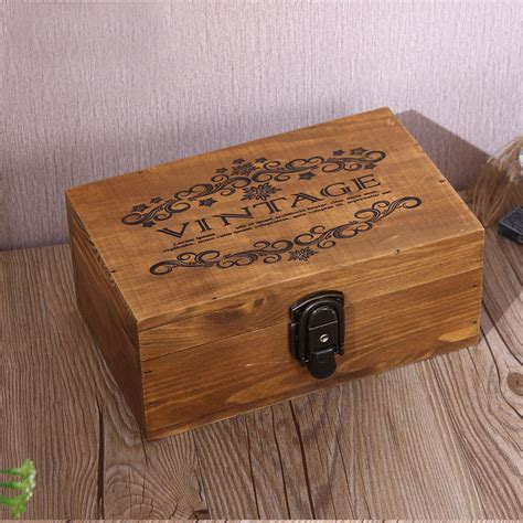 Large Vintage Wood Lock Box Retro Jewelry Boxes Antique ...