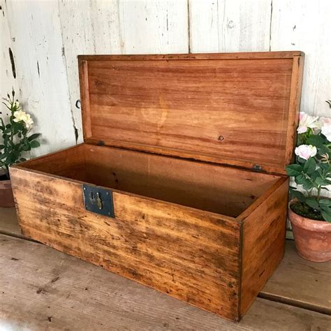 Large Wood Box with Hinged Lid 36 Vintage Wooden Box ...