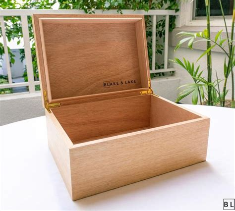 Large Wooden Box with Hinged Lid Wood Storage Box with Lid ...