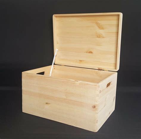 Large Wooden Boxes Plain Wood Storage Box Chest Lid ...