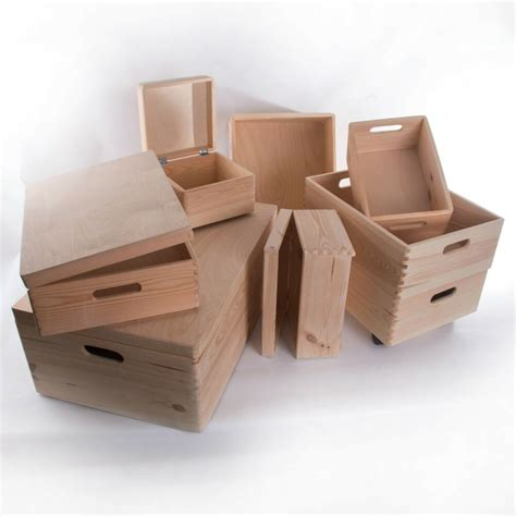 Large Wooden Storage Boxes / Plain Wood / Box with Lid ...