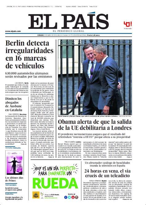 Las portadas de los periódicos de hoy, sábado 23 de abril