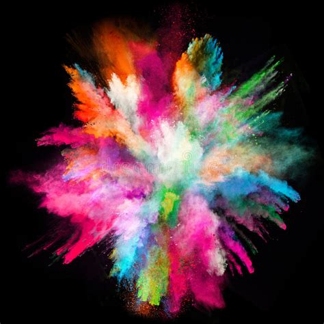 Launched Colorful Powder On Black Background Stock Photo ...