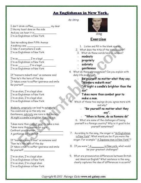 learn english by songs   ESL worksheet by bettacan