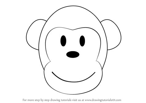 Learn How to Draw a Monkey Cartoon Face  Zoo Animals  Step ...