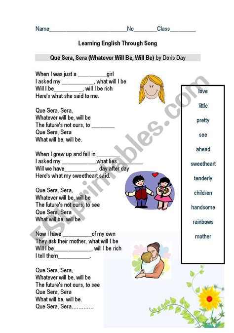 Learning English Through Song   ESL worksheet by teacherBall