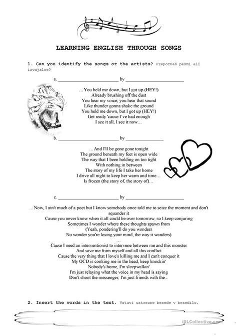 Learning English through songs worksheet   Free ESL ...