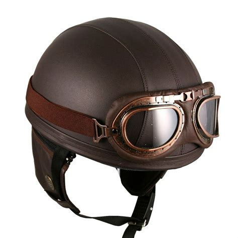 Leather Brown Motorcycle Goggle Vintage Garman Style Half ...