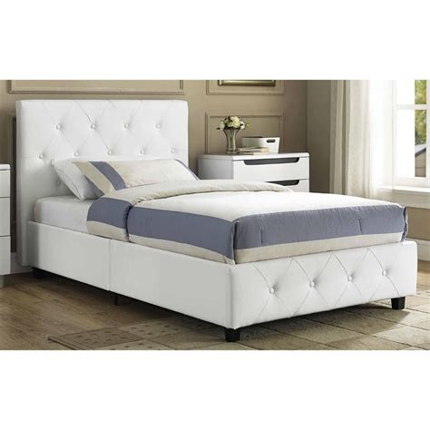 Leather Upholstered Bed Faux White Frame Twin Full Queen ...
