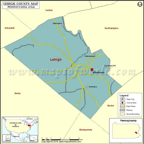 Lehigh County Map, Pennsylvania