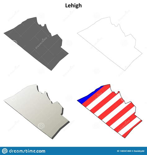 Lehigh County, Pennsylvania Outline Map Set Stock Vector ...