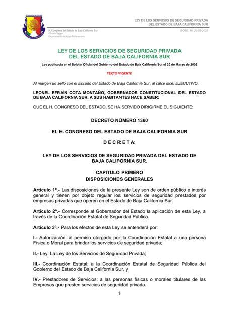 LEY DE LOS SERVICIOS DE SEGURIDAD PRIVADA DEL ESTADO