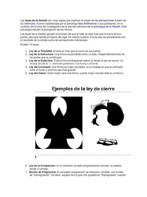 Leyes de La Gestalt | Percepción | Conceptos psicologicos