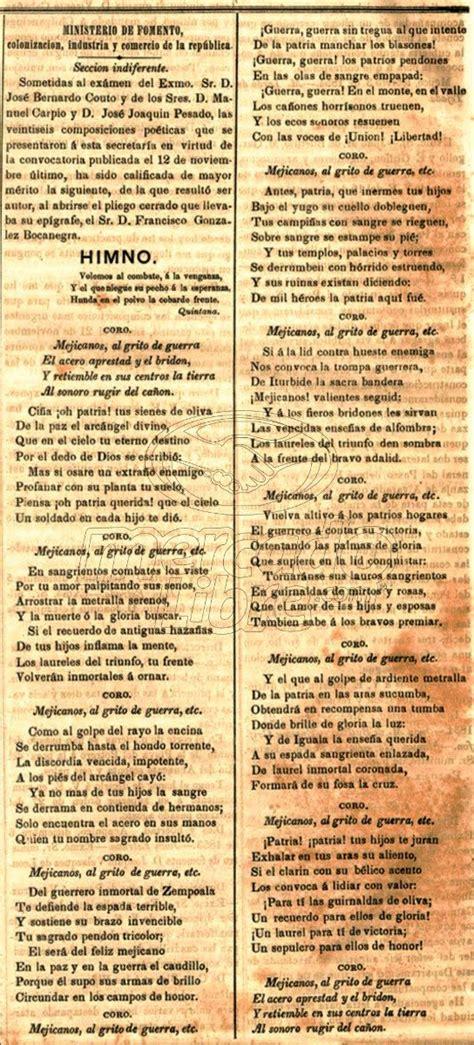 Lienzo Tela Canvas Letra Himno Nacional Mexicano 1854 ...