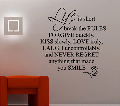 LIFE IS SHORT LOVE QUOTE wall art sticker vinyl LOUNGE ...