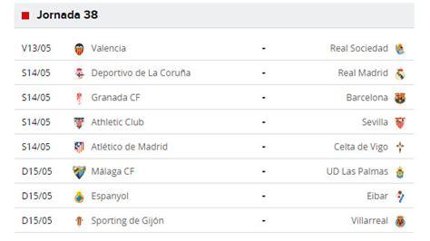 Liga BBVA 2016 última jornada: partidos de primera ...