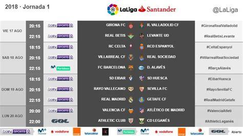 Liga Santander 2018 19: Horarios de la jornada 1 de ...
