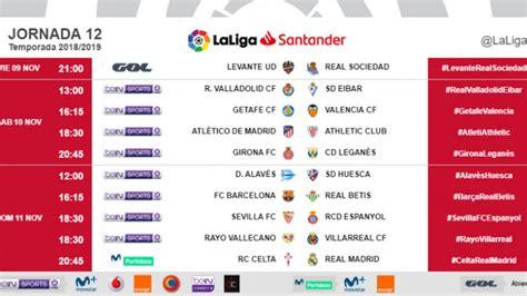 Liga Santander 2018 19: Horarios de la jornada 12 de ...