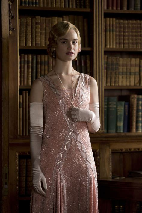 Lily James wearing opera gloves in Downton Abbey ...