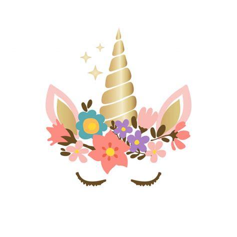 Linda cara de unicornio con flores | Vector Premium