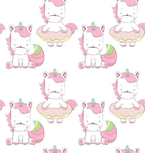 Lindo pequeño unicornios dibujos animados patrón dibujado ...