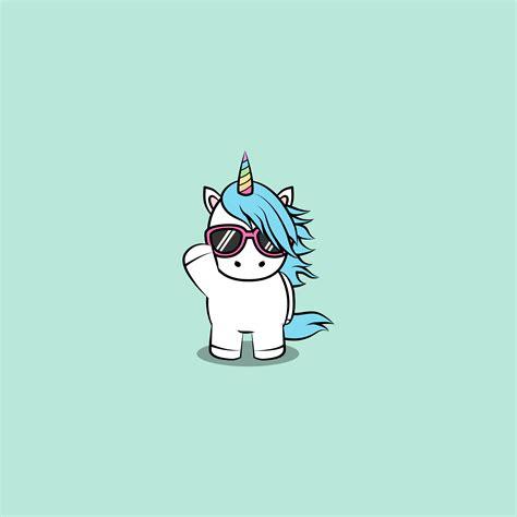 Lindo unicornio con gafas de sol de dibujos animados ...