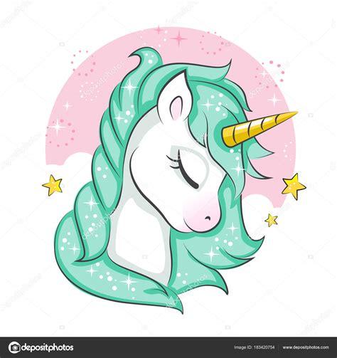 Lindo Unicornio Mágico Diseño Vectores Aislado Sobre Fondo ...