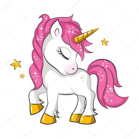Lindo Unicornio Mágico Rosa Pequeña Diseño Vector Sobre ...