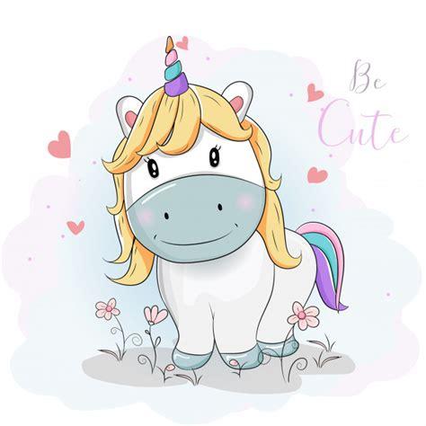 Lindos dibujos animados de unicornios en los campos de ...