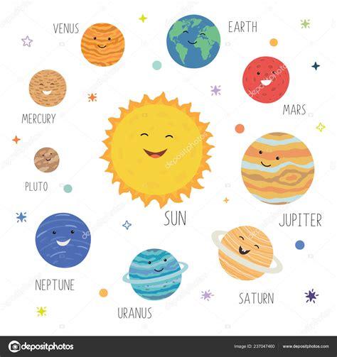 Lindos planetas con divertidas caras sonrientes. Sistema ...