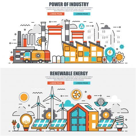 Línea plana concepto de industria energética y energía ...