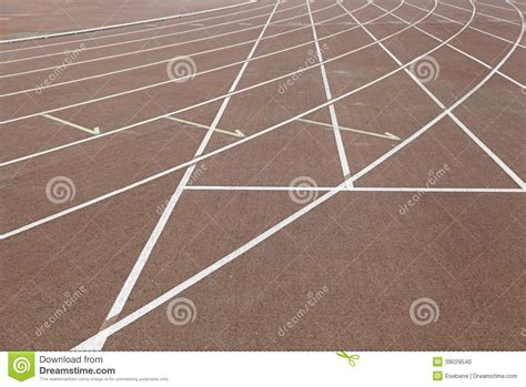 Lines on a running track stock photo. Image of paint ...