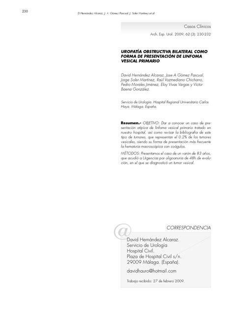 LINFOMA VESICAL PRIMARIO. Dr. J A Gómez Pascual; Arch. Esp ...
