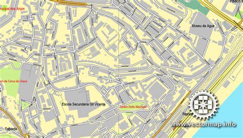 Lisbon / Lisboa, Portugal, printable vector street map ...