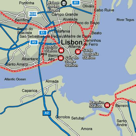 Lisbon Rail Maps and Stations from European Rail Guide