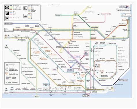 Lisbon Transport Map, Portugal. Tram, Metro, Funicular ...
